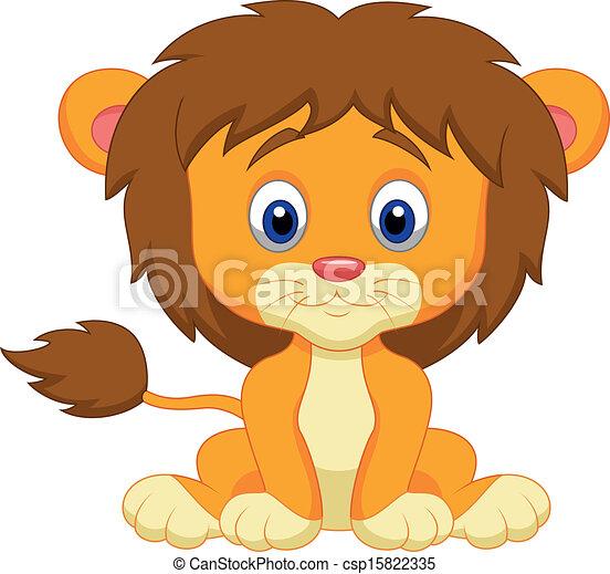 Baby lion cartoon sitting - csp15822335