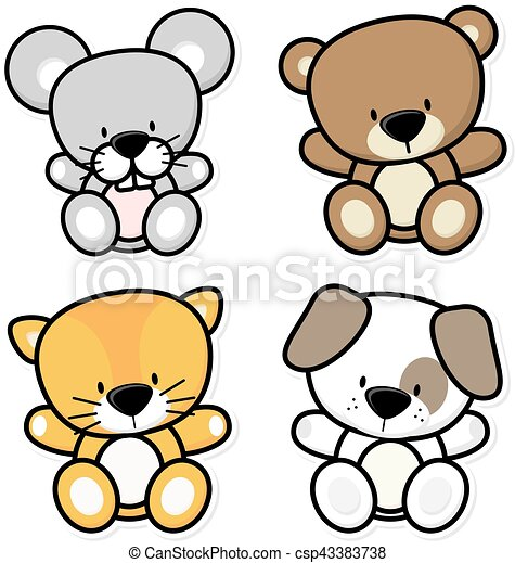 Baby Little Animals Vector Cartoon Illustration Of Four Cute Baby