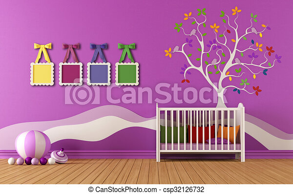 Baby meisjes, slaapkamer. Muur omlijsting, -, babyroom ...