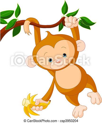 Baby monkey on a tree - csp3950204