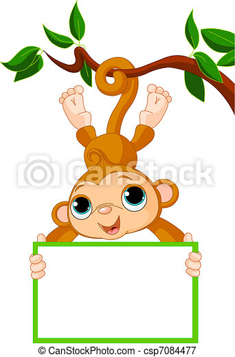 Baby monkey on a tree holding blank - csp7084477