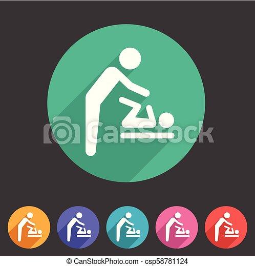 Baby mother care room symbol icon flat web sign symbol logo label - csp58781124
