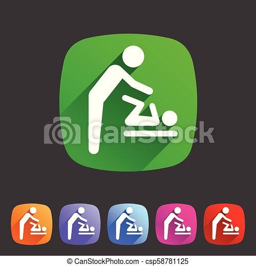 Baby mother care room symbol icon flat web sign symbol logo label - csp58781125