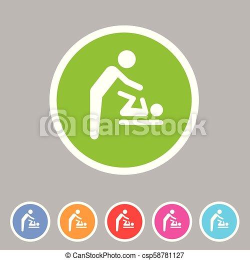 Baby mother care room symbol icon flat web sign symbol logo label - csp58781127