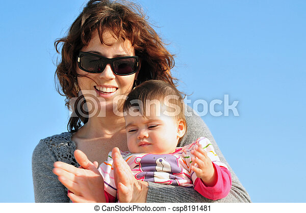 Baby Mother Daughter Clap Hands - csp8191481
