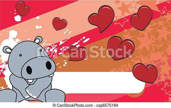 baby, nijlpaard, spotprent, achtergrond - csp6575184