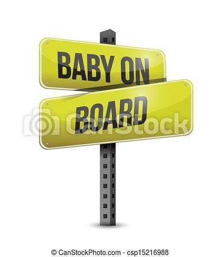 baby on board road sign illustration design - csp15216988