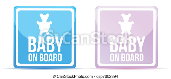 baby on board sign illustration - csp7802394