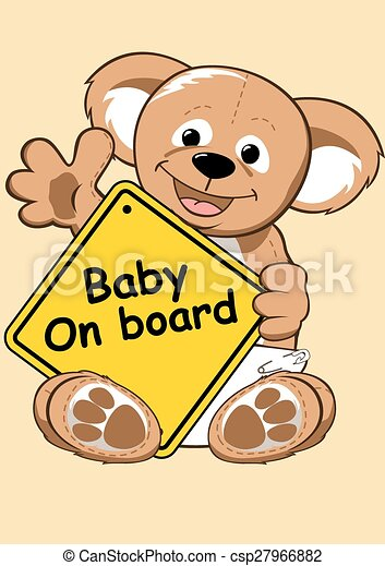 Baby on board sign with Teddy bear - csp27966882