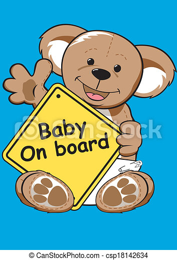 Baby on board sign with Teddy bear. - csp18142634