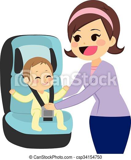 Baby On Car Seat - csp34154750