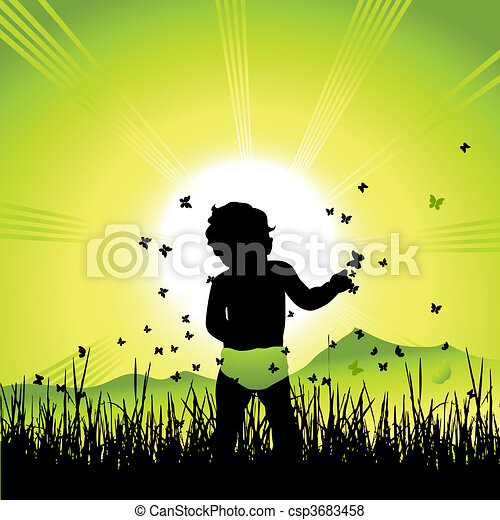 Baby on nature, black silhouette - csp3683458