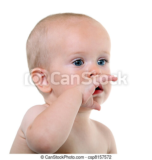 Baby on the white background - csp8157572