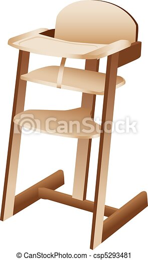 Baby or toddler high chair - csp5293481  sc 1 st  Can Stock Photo & Baby or toddler high chair. Three dimensional illustration of wooden ...
