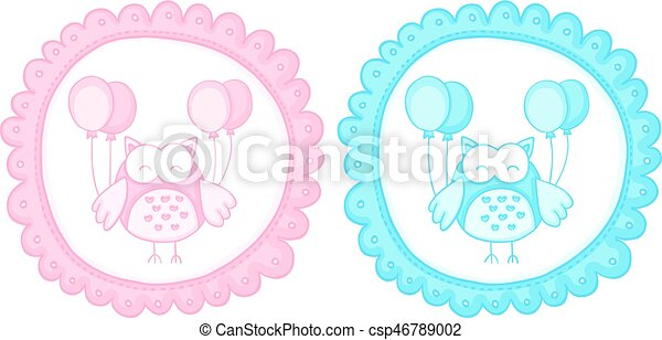 baby owl baby shower sticker labels scalable vectorial image