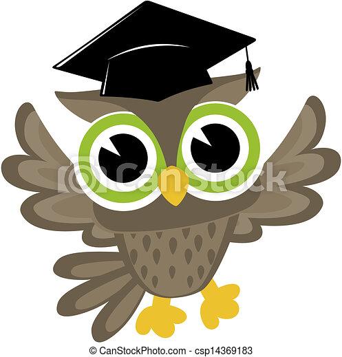 baby owl cartoon graduated - csp14369183