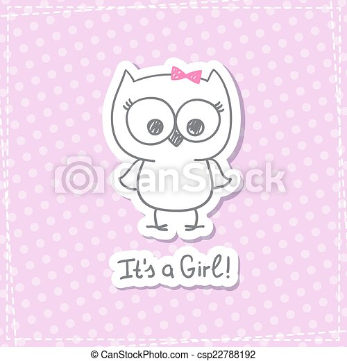 Vector Hand Drawn Baby Owl Baby Shower Card Template Its A Girl