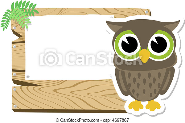baby owl sign board - csp14697867