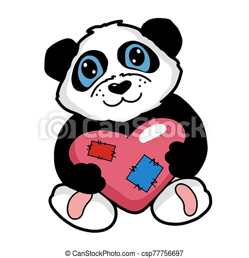 Baby Panda With Heart Vector Illustration Cute Animal Print For Kids Cartoon Black And White Bear Hand Painted Digital