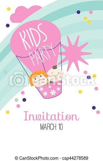 Baby, Party, Karte, Einladung Vektor