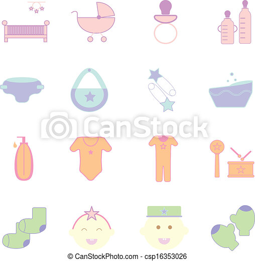 Baby pastel color icons set on white background - csp16353026