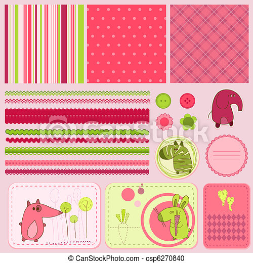 baby, plakboek, communie, ontwerp - csp6270840