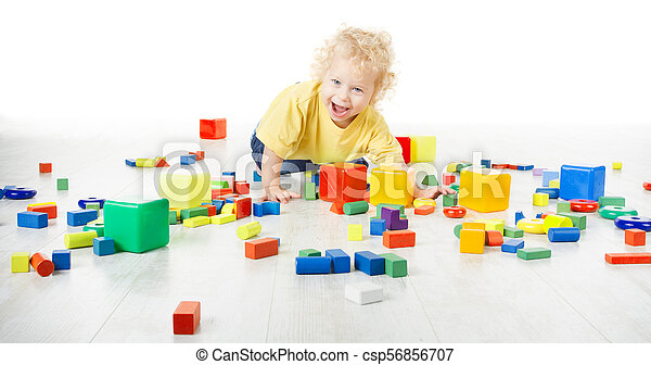 Baby Play Toy Blocks, Crawling Child Playing on Floor with Building Bricks Toys, Happy Kid Isolated over White Background - csp56856707