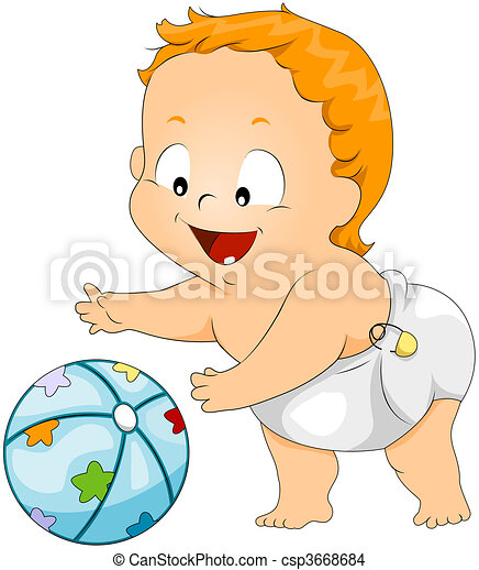 Baby playing with ball Clipart | csp3668684