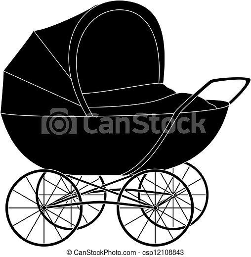 Baby pram, black silhouette - csp12108843