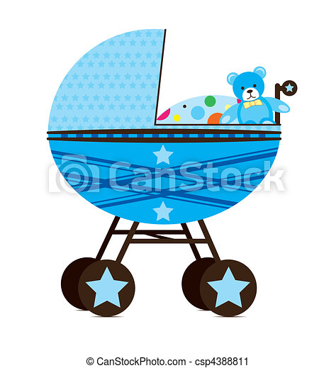 Baby Pram Blue - csp4388811