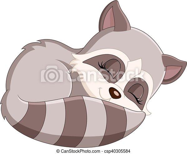 illustration of baby raccoon cartoon
