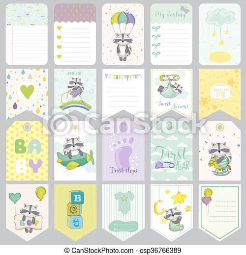 Baby Raccoon Tags Baby Banners Scrapbook Labels Cute Cards