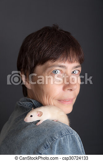 baby rat sits on the shoulder - csp30724133