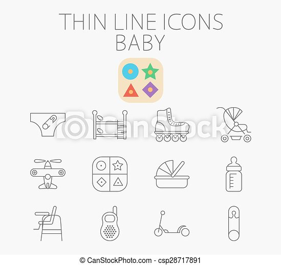 Baby related flat vector icon set - csp28717891