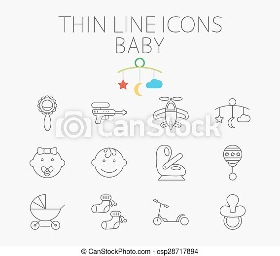 Baby related flat vector icon set - csp28717894