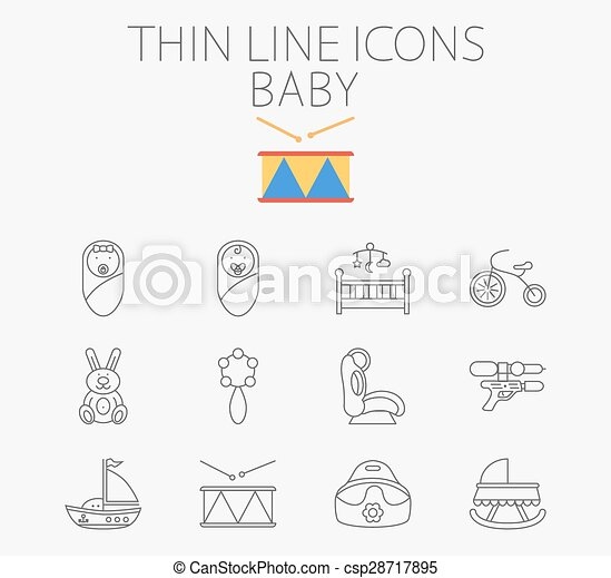 Baby related flat vector icon set - csp28717895