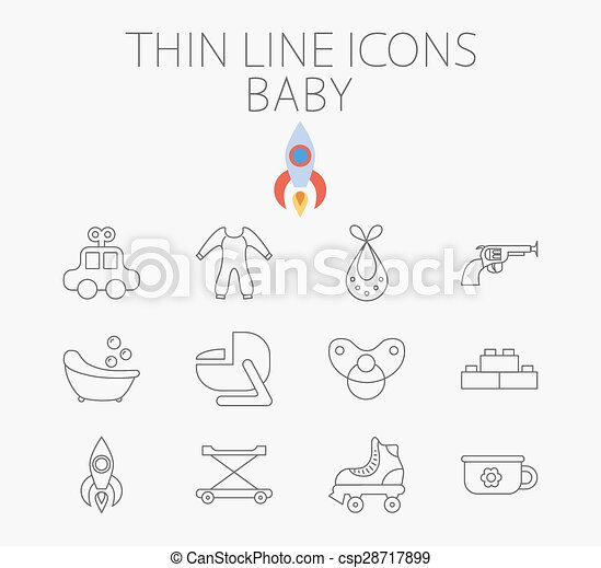 Baby related flat vector icon set - csp28717899