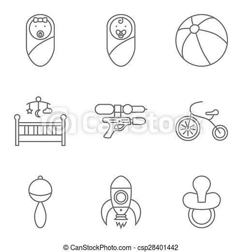 Baby related flat vector icon set - csp28401442