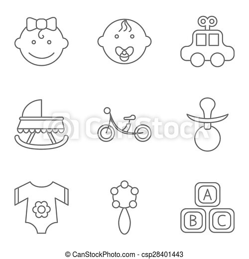 Baby related flat vector icon set - csp28401443