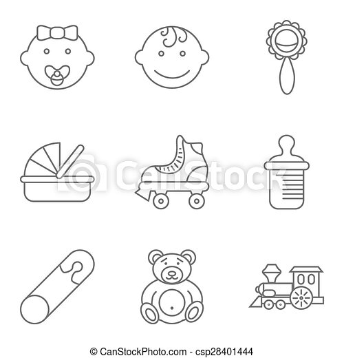 Baby related flat vector icon set - csp28401444