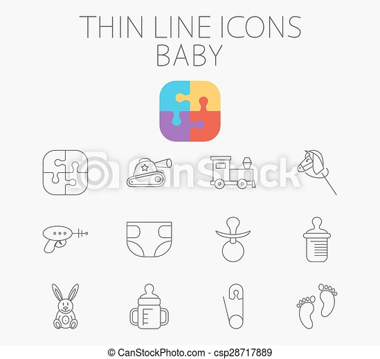 Baby related flat vector icon set - csp28717889