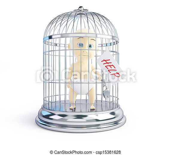 baby request for assistance in a bird cage 3d Illustrations - csp15381628