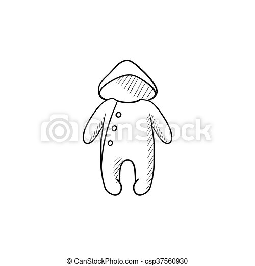 b6a2df94db9b Baby rompers sketch icon. Baby rompers vector sketch icon isolated ...