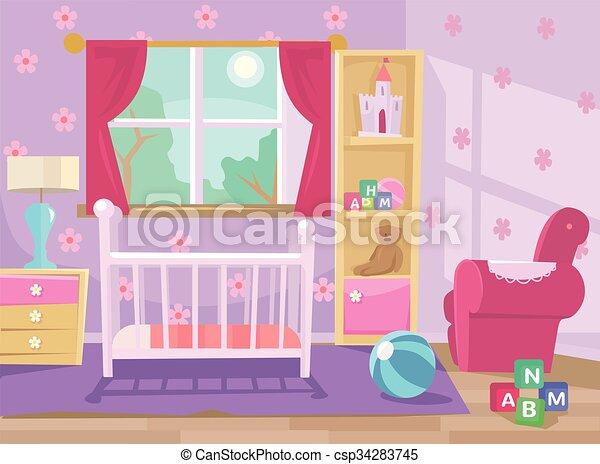 Baby room. Vector flat illustration - csp34283745