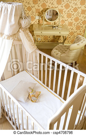 baby room with crib and toys - csp4708798
