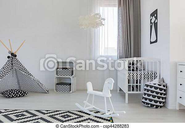 Baby room with crib - csp44288283
