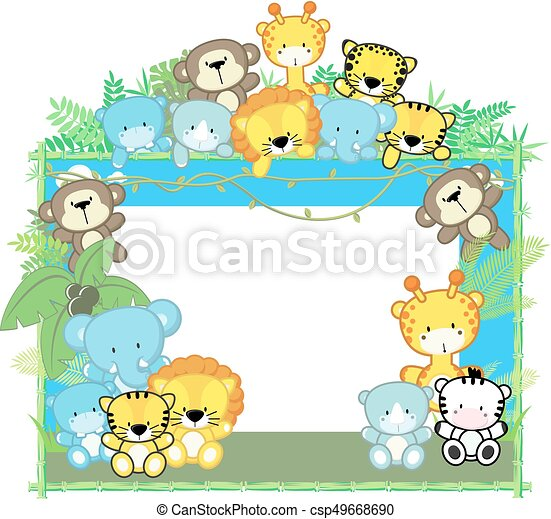Baby safari frame. Cute baby animals, jungle plants and bamboo frame ...