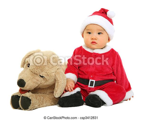baby santa claus with stuffed animal csp3412831 - Stuffed Santa Claus
