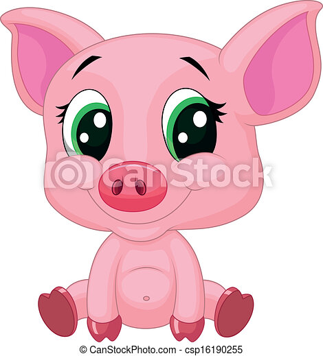 baby, schattig, spotprent, varken - csp16190255