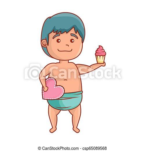 baby, schattig, weinig; niet zo(veel), cupcake, hart - csp65089568